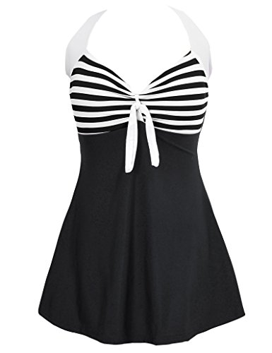Saslax Vintage Sailor Pin Up Swimsuit One Piece Skirtini Cover Up Swimdress(FBA) (L=US(6-8), Black Strip)