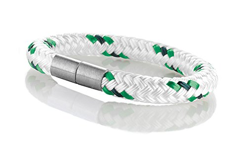1b97b87621fa Maritimes Seemannsgarn Segeltau Armband Borkum weiß-grün 8mm, Ohne  Verschluss, M - Gelenkumfang