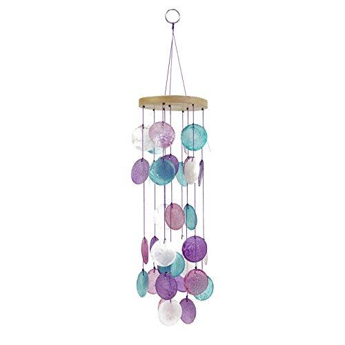 - Art Supplies 1pce Hanging Round Capiz Shell Mobile, Purple/Blue