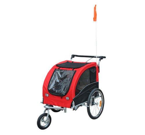 Aosom Elite II Pet Dog Bike Bicycle Trailer Stroller Jogger w/ Suspension - Red