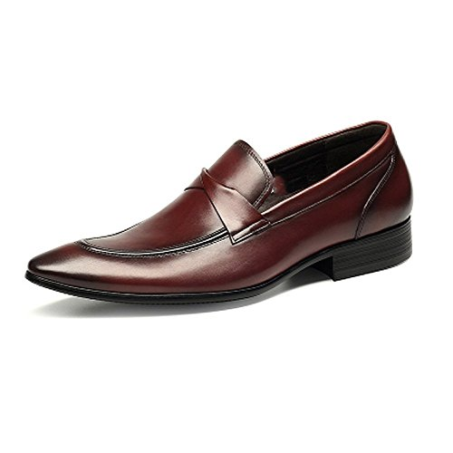 NIUMJ La Mode des Hommes Occasionnels Chaussures Respirantes Paresseux Winered fyaKA