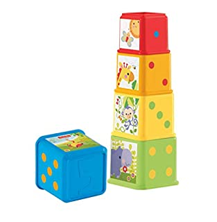 Each 5-sided block features bright colors, interesting textures, cute characters, numbers, and familiar first objects. Baby can stack them, nest them one-inside-another, or place them side-by-side to build a colorful scene!