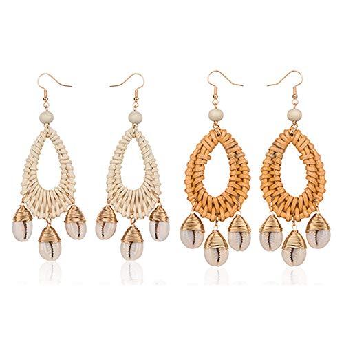 SEVENSTONE Rattan Shell Earrings Lightweight Boho Statement Chandelier Woven Drop Dangle Handmade Straw Wicker Braid Cowrie for Women