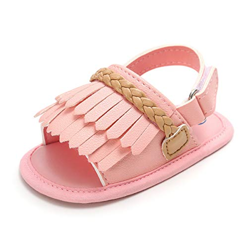 Infant Baby Girls Sandals Bowknots Summer Shoes Soft Sole T-Strap Toddler First Walker Crib Shoes(12-18 Months M US Toddler, F-Pink)