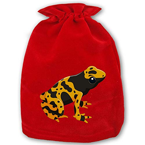 (Christmas Poison Dart Frog Drawstring Gift Bags 1 Pack, Santa Sack for Party Favors and Candy)