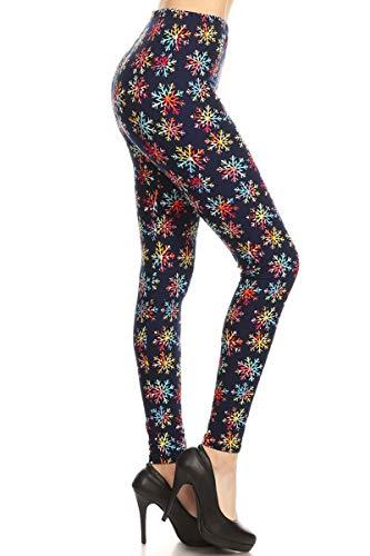 S644-EXTRAPLUS Snowflake Fireworks Print Fashion Leggings