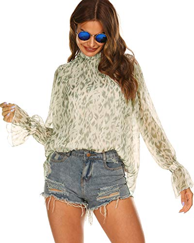 Halife Long Sleeve Tops for Women Loose Fitting Bohemian Blouse Sliver,XXL