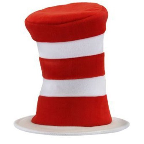elope Deluxe Cat In The Hat Velboa, Red/White, One Size