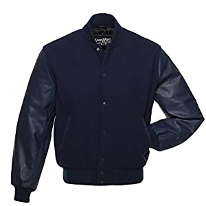 C124 Solid Navy Blue Wool Leather Varsity Jacket Letterman Jacket