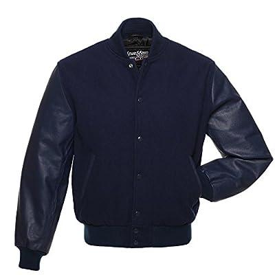 C124 Solid Navy Blue Wool Leather Varsity Jacket Letterman Jacket