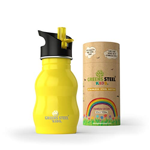 - Kids Stainless Steel Water Bottle 12 oz - Sippy Cup Leak Proof Sports Cap with Straw - Metal Kids Bottle - Toddler Child Friendly Flask (Yellow)