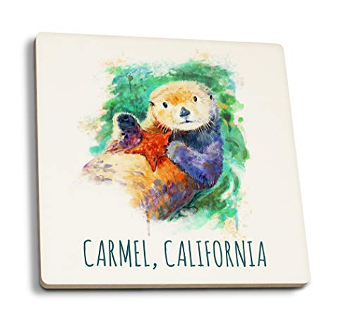 Lantern Press Carmel, California - Sea Otter - Watercolor (Set of 4 Ceramic Coasters - Cork-Backed, Absorbent)