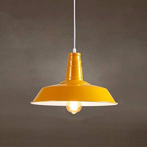 AN Gzz Deng Home Außenbeleuchtung Pendelleuchte Schatten Industrie Hängelampe Kronleuchter Licht Café Gelb 36Cm Wohnzimmer Restaurant Schlafzimmer Beleuchtung