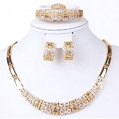 Amazon Fashion Jewelry Set Women 18k Gold Plated Necklace