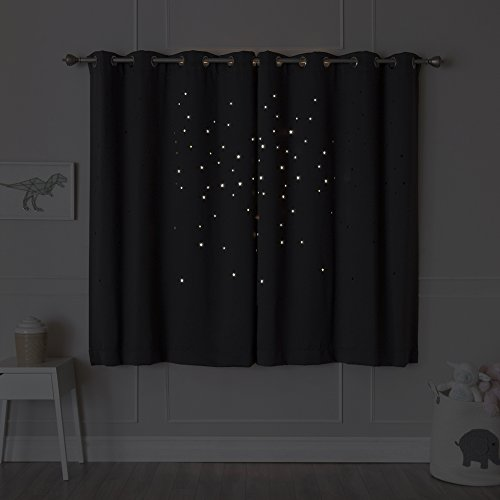 Best Home Fashion Star Cut Out Blackout Curtains - Stainless Steel Nickel Grommet Top - DK.Grey - 52