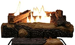 Sure Heat Mountain Vernon Oak Vent free Dual Burner Log Set for Natural Gas Fueled Fireplace, 24-Inch (Includes 6 logs)