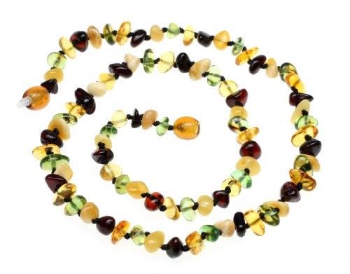 (Amberbeata Fall Colors Baltic Amber MOM Teething Necklace (Butterscotch and Cherry Baltic Sea Amber, and Green Caribbean Amber) Etsy Necklace)