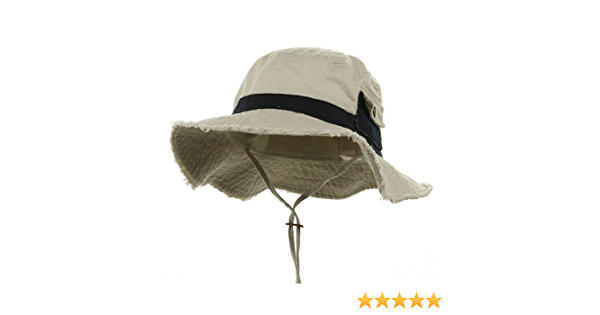 Frayed Cotton Twill Washed Bucket Hat Black