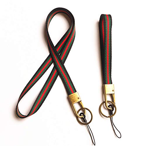 Flat Woven Stripe Yarn Dyed Neck Lanyard Long Strap and Wrist Strap for Cell Phone,KeyChain,Etc Device, With Bronze Hook and Key Ring.1 Set contains 1 Neck Strap and 1 Wrist Strap (Black/green/red) (Cell Phone Keychain)