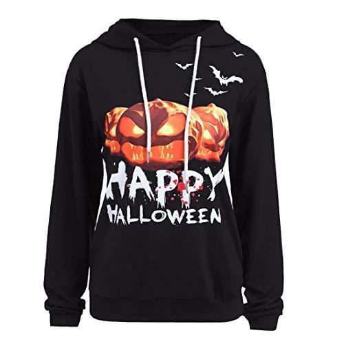 iYBUIA New Cotton Halloween Pumpkin Print Women Long Sleeve Sweatshirt Pullover Tops Blouse Shirt(Black,L) -