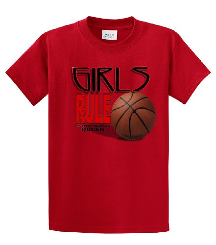 irls Rule Hardwood Queen Adult Tee-Red-XL ()