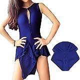 Women Front Bottom Two Zipper Blue Swimdress Tummy Control Swim Dress Swimwear Slimming Skirt Swimsuits Bathing Suit Dress