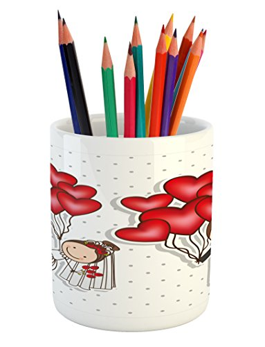 Ambesonne Wedding Pencil Pen Holder, Funny Cartoon Style Newlyweds with Heart Shaped Balloons Dots Happiness, Printed Ceramic Pencil Pen Holder for Desk Office Accessory, Red White Black