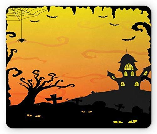 Halloween Mouse Pad, Halloween at Gothic Castle Creepy Yellow Eyes in Forest, Standard Size Rectangle Non-Slip Rubber Mousepad, Mustard Yellow Pale Orange and Black -