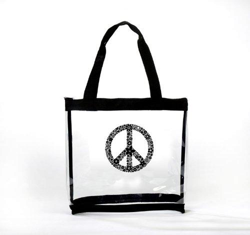 Clear Medium Tote Bag Peace Symbol, Bags Central