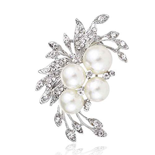 - Chili Jewelry Silver Tone Flower Brooch for Women Girls Brooches Lapel Pin Corsages Scarf Clips Wedding Party