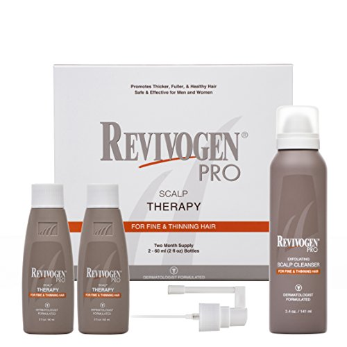 Revivogen PRO Rejuvenation Treatment Set: Scalp Therapy Serum for Thinning Hair, Natural Anti-DHT Ingredients (2 bottles, 2 oz each) + Exfoliating Scalp Cleanser, Fresh, Clean, 3.4 (Scalp Therapy Serum)