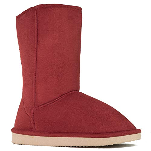RF ROOM OF FASHION Women's Vegan Shearling Fur Lined Hidden Pocket Mid-Calf Winter Boots Red Suede (No Pocket) SIZE6