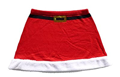 Derek Heart Juniors Plus Size Holiday Christmas Winter Knit Skater Skirt - Red Santa Claus
