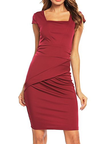 Red Square Neck Dress - 1