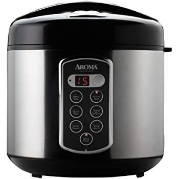 Aroma Housewares Professional 20-Cup (Cooked)  (10-Cup UNCOOKED) Digital Rice Cooker and Food Steamer, Stainless Steel Exterior (ARC-2000SB)