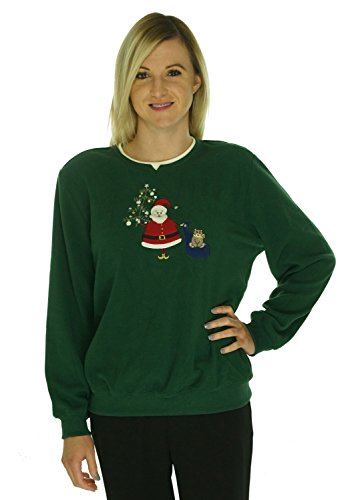 Alfred Dunner Womens Santa Claus Holiday Fleece Pullover Sweater Green XL