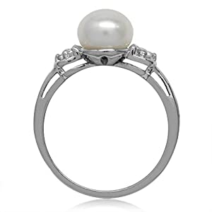 Silvershake 8mm Cultured Freshwater Pearl White Gold Plated 925 Sterling Silver Ring Size 10.5