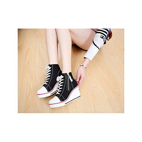OCHENTA Pendiente con los zapatos de lona Zapatos zapatos de moda casual zapatos tacon para mujer #6 Negro