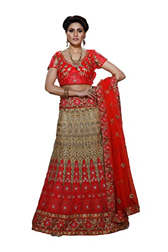 PCC Net Fabric Beige Pretty Lehenga Style With Embroidery Work Dupatta 79584