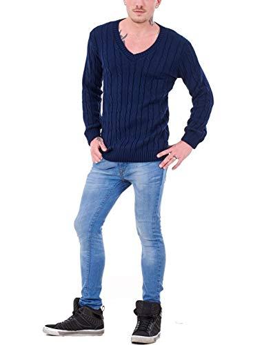 Homme Manches 21fashion Marine Taille Longues Bleu Noir Unique Pull qAvtwxgva