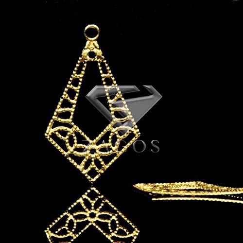(Laliva Accessories - 20Pcs Raw Brass 23x14x0.2mm Teardrop Filigree Charms Pendant Jewelry Making Finding Fit Necklace MB0575)