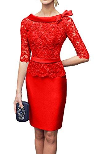 Kurz Langarm Spitze Brautmutterkleider Satin Blau Charmant Ballkleider Knielang Abendkleider Rot Royal Damen f0xXI
