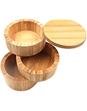 Dtacke Bamboo Salt Box Round Bamboo Jar Salt and Spices Storage Container Spice Container 3-Tier Bamboo Wood Container, Divided Spice Holder
