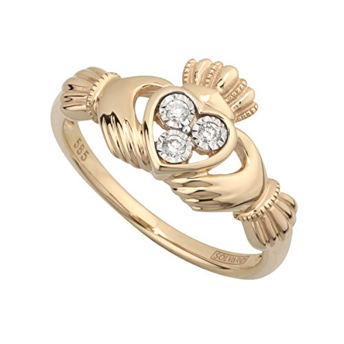 Diamond Claddagh Ring 14K Gold Made in Ireland Sz 4.5