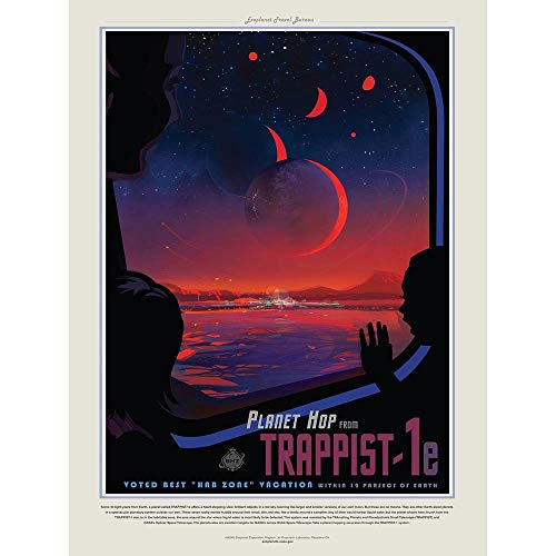 Wee Blue Coo NASA Space Travel Advert Trappist 1E Planet Hop Unframed Wall Art Print Poster Home Decor Premium