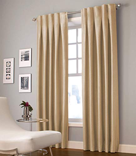 Hill Cotton Curtain (North Hills Pleated Tape Top Curtains Gold for Kitchen Bedroom, Energy Saving Elegant Home Decoration Window Curtains (30 x 63 Inch Gold, 1 Panel))