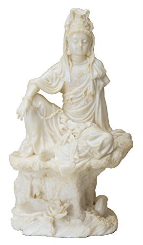 """7 Inch Cream Toned Cold Cast Resin """"Water & Moon Kuan for sale  Delivered anywhere in USA"""