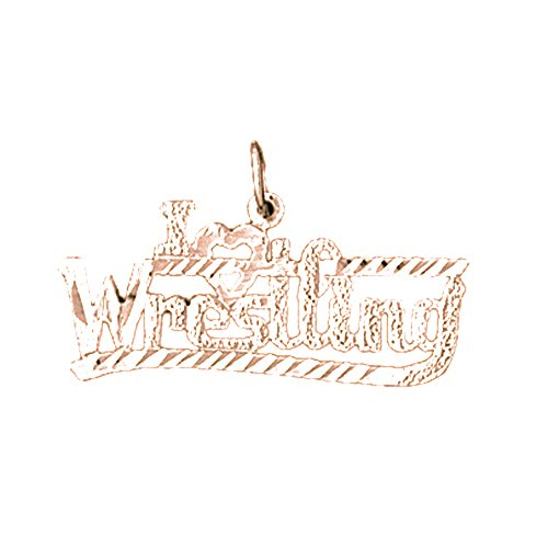 Rose Gold-plated 925 Silver 16mm I Love Wrestling Pendant Necklace by NecklaceObsession