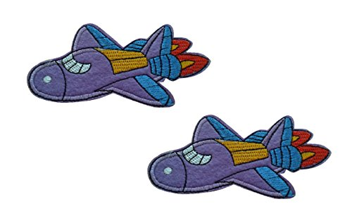 2 pieces AIRPLANE Iron On Patch Fabric Aeroplane Transport Applique Motif Plane Decal 3.9 x 2.2 inches (9.8 x 5.5 cm)