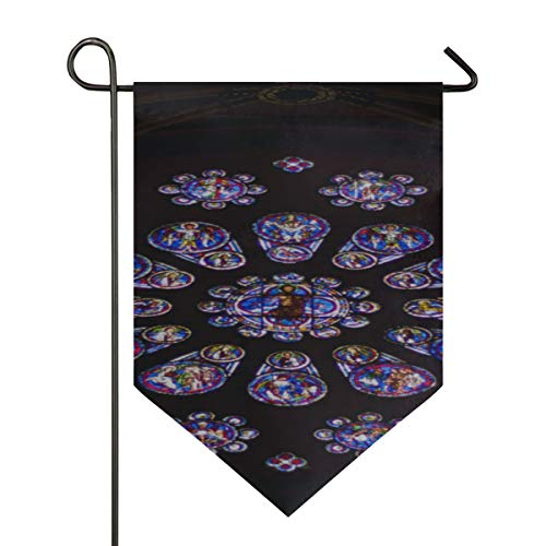 House Flag Large Chartres France April 23 Old Stainedglass Windows Decorative Double Sided Polyester 12 X 18.5 Inch Flag Small Garden ()